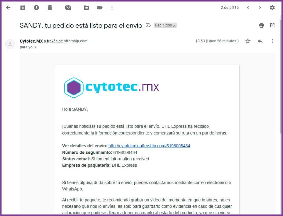 Notificación de envío Cytotec Mexico - www.cytotec.mx