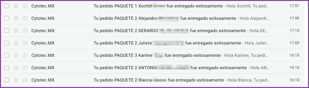 Confirmaciones de entrega de Cytotec en México - www.cytotec.mx